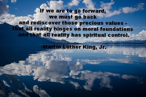 quote of martin luther king jr over a scene of a lake